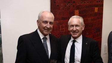 Former prime minister Paul Keating with former Westpac CEO David Morgan at the launch of the latter's biography in Sydney.