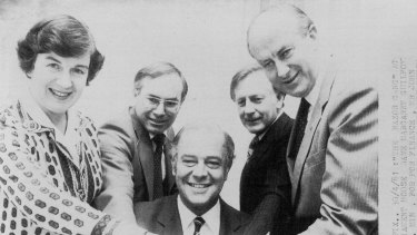 Finance minister Dame Margaret Guilfoyle in 1981 with treasurer John Howard, Sir Phillip Lynch, minister for commerce and industry, Ian Vincer, minister for industrial relations, and Peter Nixon, minister for primary industry.