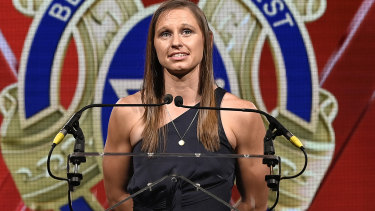Fremantle Docker Kiara Bowers was a joint winner of the AFLW best and fairest.