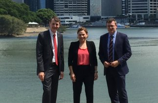Graham Quirk, Jackie Trad and Cities Minister Alan Tudge after signing a statement of intent for a SEQ City Deal.