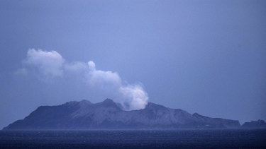 Smoke and ash rises from a volcano on White Island early in the morning on December 9, 2019 in Whakatane, New Zealand.