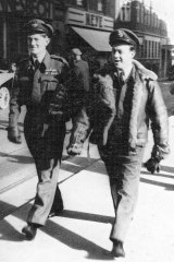 Maurice Webb (right) who was a navigator shot down over France in World War 2.
