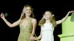 Kylie Minogue and Nikki Webster at the Sydney Olympic Games closing ceremony.