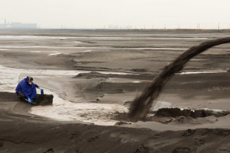 A still from the film Rare Earthenware of a radioactive lake in Inner Mongolia that collects rare earth waste.