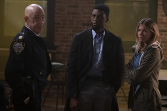 J.K. Simmons (left), Chadwick Boseman and Sienna Miller in 21 Bridges.