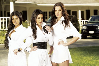 Kourtney, Kim and Khloe Kardashian in an early publicity image for Keeping Up with the Kardashians.