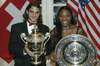 Roger Federer and Serena Williams with their Wimbledon trophies in 2003. It was the first of three times they have won in the same year.