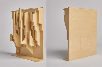 Front and back view of Ocean Wave (2021,Reconfigured Lego,19 x 24.5 x 8.2cm),one of the sculptures in Jan van Schaik's Lost Tablets series. The work is named after a 13-foot sailboat used by artist Bas Jan Ader in his attempt to cross the Atlantic in 1975. The boat was found, unmanned and partially submerged, with Ader presumed lost at sea.