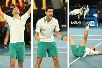 Novak Djokovic after claiming his third straight Australian Open men's title.
