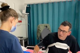 Daniel Andrews shares a photo after being moved out of ICU.