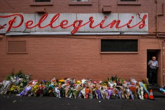 Melburnians lined Pellegrini's cafe with flowers in the days after Mr Malaspina's death.
