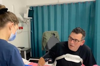 Premier Daniel Andrews, pictured in intensive care in March.