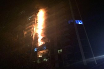 The 2014 blaze at the Lacrosse tower in Docklands.