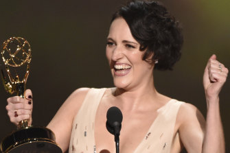 Phoebe Waller-Bridge accepts the award for outstanding writing for a comedy series for Fleabag.