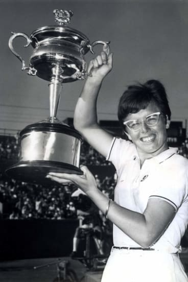 Billie Jean King after beating Margaret Court to win the Australian Women's Singles Tennis Championship in 1968.