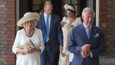 Prince Charles and Camilla Duchess of Cornwall arrive for the christening service.
