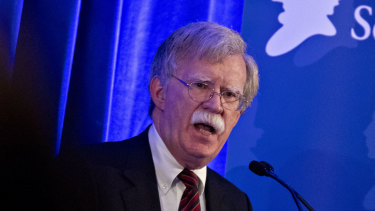 John Bolton, national security advisor, speaks at a Federalist Society event in Washington, D.C., U.S., on Monday, Sept. 10, 2018.