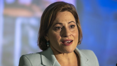 Queensland Treasurer Jackie Trad briefs the media ahead of handing down the state budget.