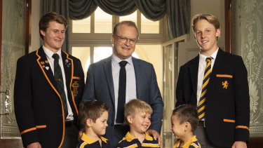 The Scots College principal, Dr Ian Lambert, with students. The college will participate in a ground-breaking teacher training program next year