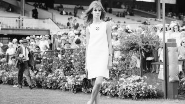 Jean Shrimpton on Derby Day in 1965.