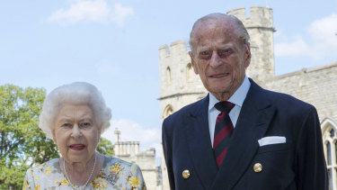 Queen Elizabeth II and Prince Philip the Duke of Edinburgh in the quadrangle of Windsor Castle on June 1.