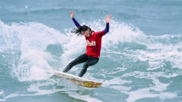 Pauline Menczer surfs at Bells Beach in 1996.