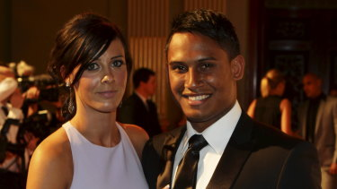 Dumped: Ben Barba with partner Ainslie Currie at the 2012 Dally M awards.