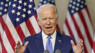 Democratic presidential candidate and former vice-president Joe Biden speaks at the Constitution Centre in Philadelphia.