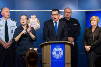 Premier Daniel Andrews, Chief Commissioner Graham Ashton and Police Minister Lisa Neville at a press conference about the Brighton siege in 2017.