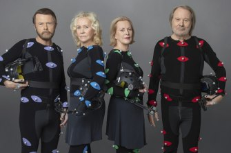 ABBA band members Björn Ulvaeus, Agnetha Fältskog, Anni-Frid Lyngstad (Frida) and Benny Andersson in motion capture suits during the making of ABBA Voyage.