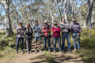 Environmentalists and graziers (left to right): Louise Crisp, Robyn Grant, John Hermans, Rhonda Treasure, Christa Treasure, Ray Anderson and Bruce Treasure meet on the Dargo high plains to discuss logging threats.