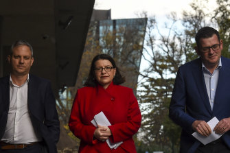 Chief Health Officer Brett Sutton. Health Minister Jenny Mikakos and Premier Daniel Andrews prepare to front the media.