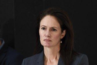 COVID-19 Quarantine Victoria commissioner Emma Cassar addresses the media on Tuesday.