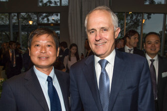 "Brighsun Auto chairman Kejun ""Kevin"" Huang with former prime minister Malcolm Turnbull in 2015."
