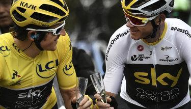 Geraint Thomas and teammate Chris Froome en route to Paris in last year's Tour de France.