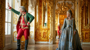"""You know, women are very successfully erased out of history"", says Mirren, here in a scene with Jason Clarke from Catherine The Great."