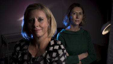 Barb Thorne and Maaike Moller (right) both work at the Victorian Institute of Forensic Medicine.