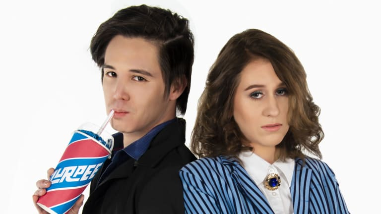 JD (Will Huang) and Veronica (Belle Nicol) in Dramatic Productions' <i>Heathers the Musical</i>.