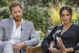The Duke and Duchess of Sussex, with interviewer Oprah Winfrey.