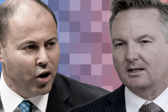 Treasurer Josh Frydenberg and his Labor counterpart Chris Bowen.