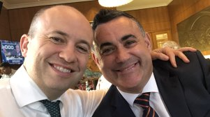 Matt Kean, the NSW Energy and Environment Minister (left) with NSW Nationals leader John Barilaro at the Perth COAG event in November 2019. Kean credits support from Barilaro as critical to getting his energy policy through.