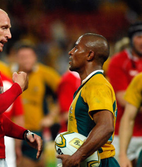 Gareth Thomas, seen with former Wallabies captain George Gregan in their playing days.