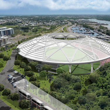 An artist's impression of a proposed new stadium in Darwin that proponents hope will host a Northern Territory AFL team.