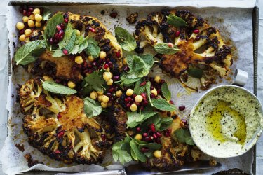 Jill Dupleix recipe: Cauliflower steaks with harissa and honey.