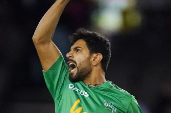 Star turn: Haris Rauf will return from Pakistan on Thursday and will face the Sixers in Friday night's decider.