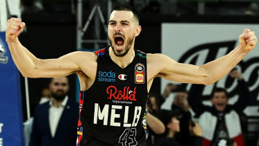 Chris Goulding celebrates after Melbourne United's game three win over the Perth Wildcats.