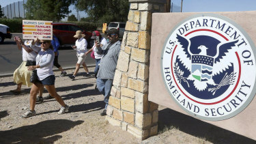 People protest outside a DHS facility in El Paso, Texas, last year.
