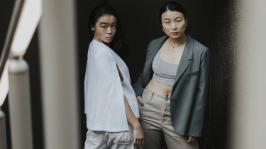 Dancers Maggie Zhu (left) and Maggie Chen (right).