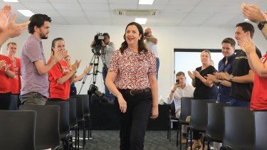 """Premier Annastacia Palaszczuk is applauded at her """"regional rally"""" in Townsville on Sunday."""