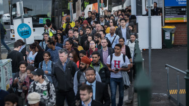 Passengers wait for replacement buses at Caulfield station in April during Metro Tunnel works in South Yarra.